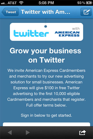 American Express Twitter Ads Promotion